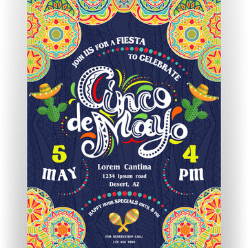 Cinco De Mayo announcing poster template. Ornate lettering, sombreros and cactuses. Mexican style rich ornamented border.