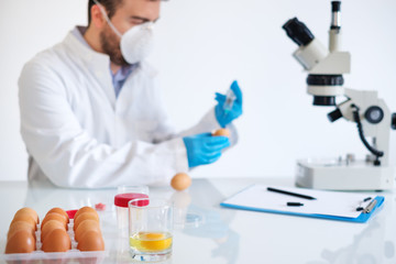 Fresh egg sample quality control in laboratory microscope about avian flu