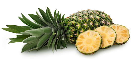 Pineapple fruit whole and three slice ring with green leaves