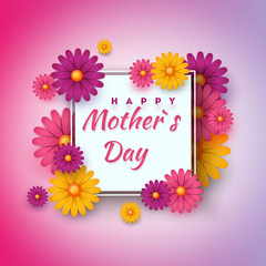 Mother's Day greeting card with square frame and paper cut flowers on colorful modern background. Vector illustration. Place for your text.