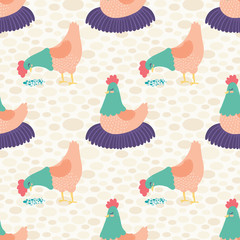 Vector Bright Cream Hens Seamless Pattern Background.
