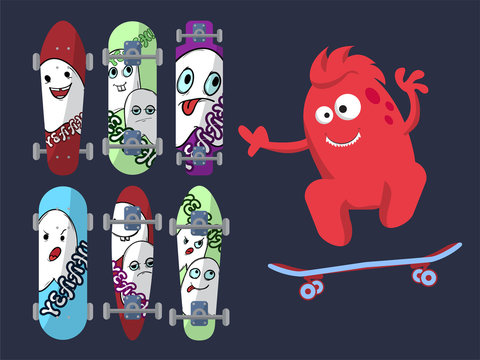 Six bright skateboard with pictures of cute ghosts on a dark background with a red monster.