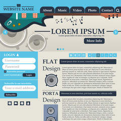 Web design elements in retro style blue and beige. Template. Music.