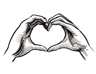 Hands making heart. Ink black and white illustration