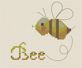 bee on a blue background with pixel mosaic effect.