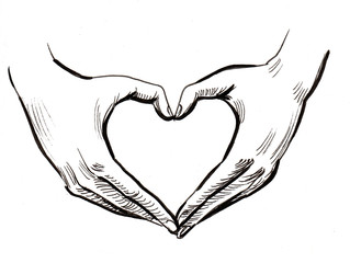 Hands shaping heart. Ink black and white illustration