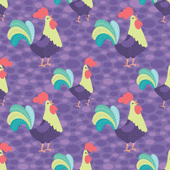 Vector Bright Purple Rooster Seamless Pattern Background.