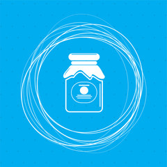 Jam Icon on a blue background with abstract circles around and place for your text.