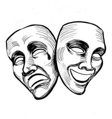Ink black and white illustration of a theater masks