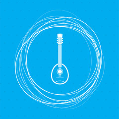 Guitar, music instrument icon on a blue background with abstract circles around and place for your text.