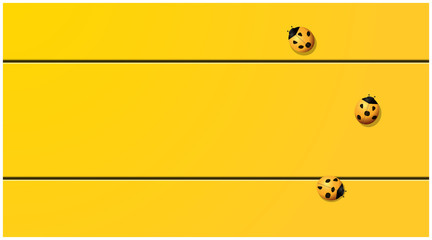 Yellow tone background with ladybugs on yellow wooden board , vector , illustration