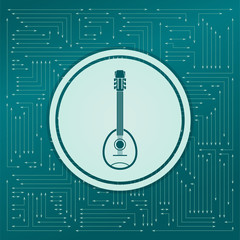 Guitar, music instrument icon on a green background, with arrows in different directions. It appears on the electronic board.