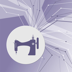 Sewing Machine icon on purple abstract modern background. The lines in all directions. With room for your advertising.