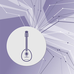 Guitar, music instrument icon on purple abstract modern background. The lines in all directions. With room for your advertising.