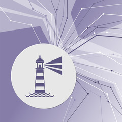 Lighthouse icon on purple abstract modern background. The lines in all directions. With room for your advertising.