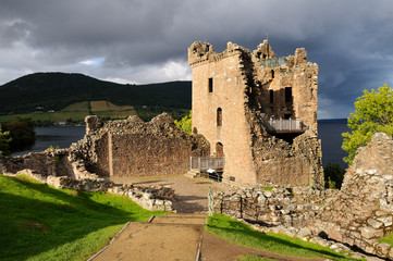 Ruins of Urquhart Castle near Loch Ness like, Scotland.