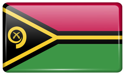 Flags Vanuatu in the form of a magnet on refrigerator with reflections light.