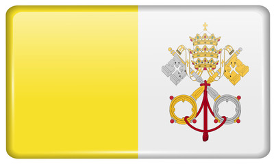 Flags Vatican CityHoly See in the form of a magnet on refrigerator with reflections light.