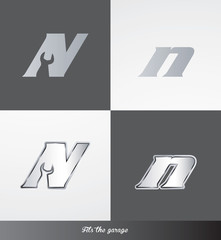 eps Vector image: initials (N) Fits the garage logo