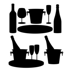 Wine set: glasses for champagne, a bottle of champagne, a bottle of wine, a tray, an ice bucket. Design element. Vector illustration. Vector silhouettes