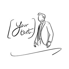 half portrait businessman with copyspace vector illustration sketch hand drawn with black lines isolated on white background