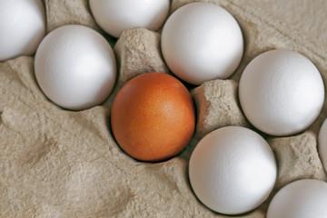 colored eggs in a cardboard box