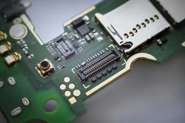 macro view of electronic circuit Board
