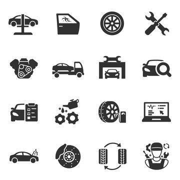 Vehicle service, monochrome icons set. Car maintenance, simple symbols collection