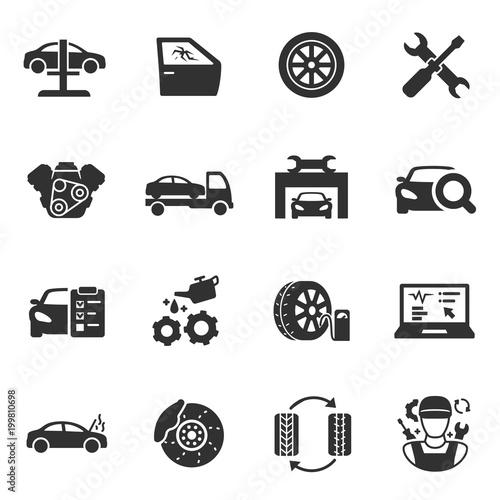 Vehicle Service Monochrome Icons Set Car Maintenance Simple