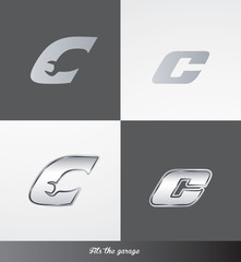 eps Vector image: initials (C) Fits the garage logo