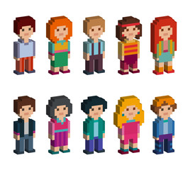 Different pixel 8-bit isometric characters. Men and women are standing on white background. Vector illustration.