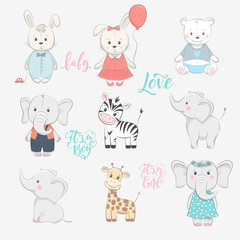 Set of cute vector illustration with animal baby for baby wear and invitation card.