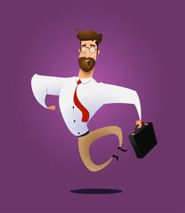 Illustration of happy jumping businessman