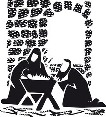 Jesus, Mary and Joseph with crib, Retro Vector Illustration