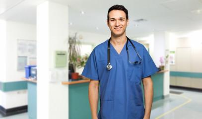 Male nurse smiling