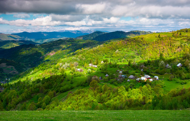 village on a forested hillside in springtime. beautiful rural scenery of Carpathian mountains on a cloudy day