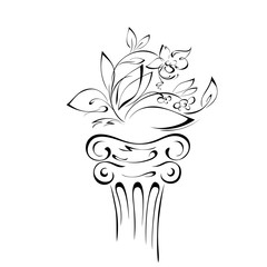 object 6. stylized flower with leaves on a pedestal in smooth black lines on a white background