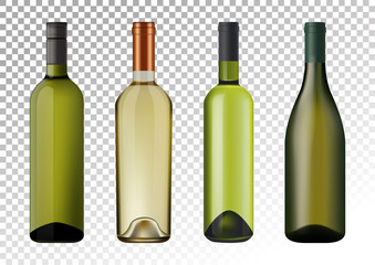 Vector illustration. Set of white wine bottles in photorealistic style. A realistic objects on a transparent background. 3D Realism.