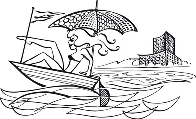 Woman on a speedboat, Retro Vector Illustration