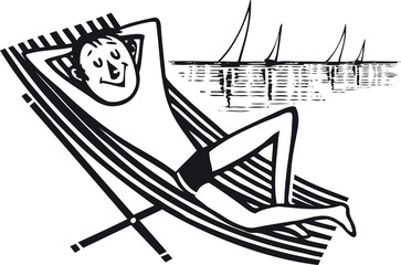 Man relaxing at the beach, Retro Vector Illustration