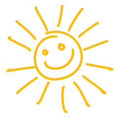 Drawing of happy smiling sun. Vector illustration