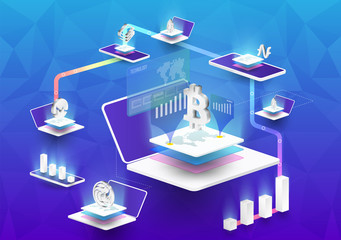 Cryptocurrency and blockchain isometric composition with Isometric phone, laptop. Smart object and smart technology design. 3d vector illustration. analysts and managers working on blockchain start up