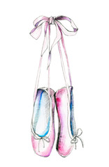 Watercolor illustration with a pink pointe. Sketch, drawing by hand