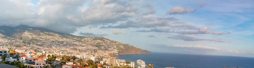 Panorama of Funchal harbour Skyline Madeira island Portugal