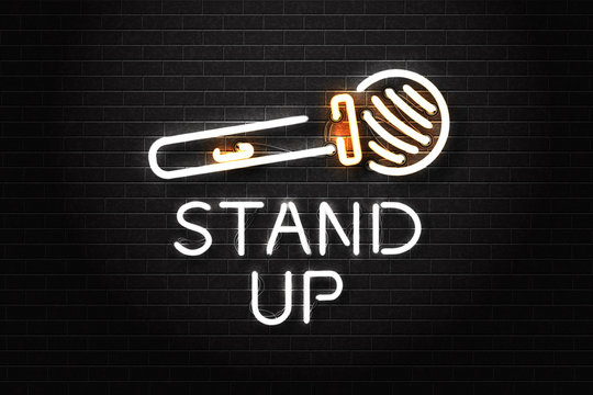 Vector realistic isolated neon sign of stand up logo with microphone for decoration and covering on the wall background. Concept of comedy show and perfomance.