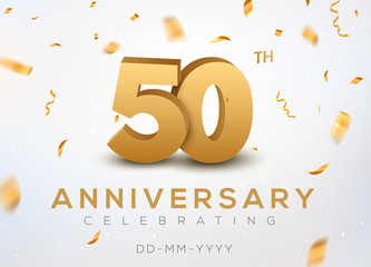 50 Anniversary gold numbers with golden confetti. Celebration 50th anniversary event party template