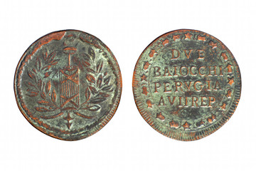 Two side of old brass Italian baiocchi coin from Perugia republic isolated on white.