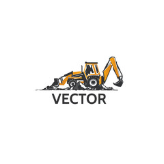 Backhoe tractor in vector.