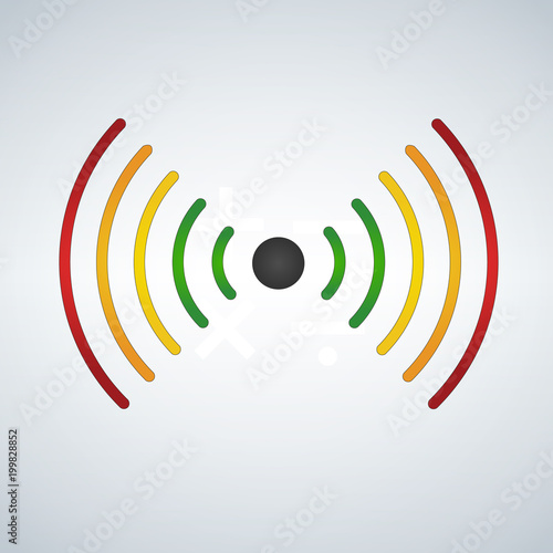 wifi or sound waves, fades with distance, colored  Vector