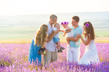 Two friendly family in a lavender field